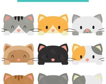Peeking Cats, Peeping Kitties, Cute Kittens Digital Clip Art For Planner Stickers, Scrapbooking, Journal, Art Pieces