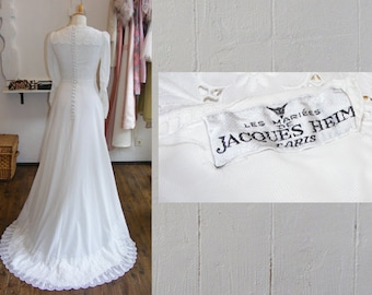 designer vintage wedding dress, 40s wedding dress, Jacques Heim wedding gown