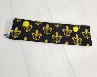 "Gold Fleur de Lis Short Needle Cozy DPN Holder project holder 7""x2""- (Hold up to 6"" Needles) NCS0043"