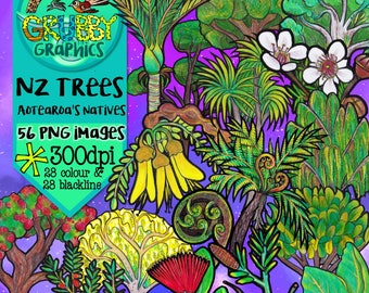 New Zealand Native Trees Clip Art, Instant Digital Download