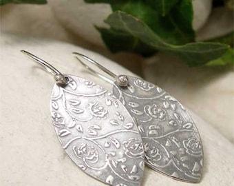 Dainty Country Rose Petal Earrings, Organic Sterling Silver Dangle Earrings, Folk Earrings, Oxidized Silver,  Boho Earrings, Hippy Jewelry