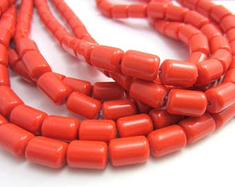 12 Faux red amber beads Indonesian buddhist mala beads 12mm x 11mm opaque red tube prayer beads Bus1680(C1C7),