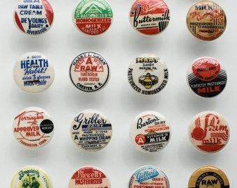 SALE15 Vintage lait bouteille bouchon porte d'armoire boutons 1 1/2 pouces 6 boutons