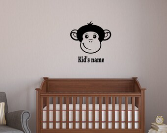 Custom Monkey Decal, choose your kid's name sticker, nursery Decor, Monkey Nursery Decal, monkey vinyl sticker, Kids Wall Decor