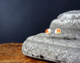 Little Illustrated Mushroom ear studs
