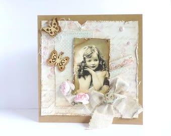 shabby card, personalized, mothers, grandmothers.  vintage style. hand made