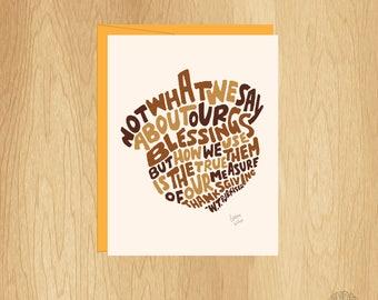Hand Lettered Acorn Card, Thanksgiving Card, Thank You Card, Hand Lettered Card, Thankful Card, Blank Card, W.T. Purkiser Card, Friend Card