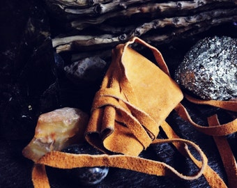 Leather medicine bag-Orange leather pouch-Leather bag-Leather neck pouch-Hippie Neck Bag-Crystal Bag-Shamans Bag-Leather pouch-Necklace bags