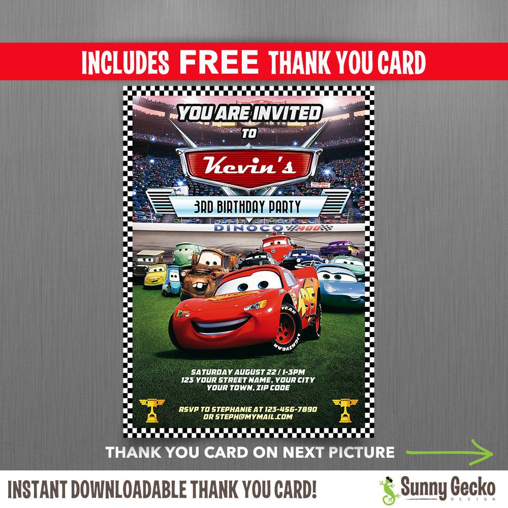 Disney Cars Lightning McQueen Birthday Invitation With FREE