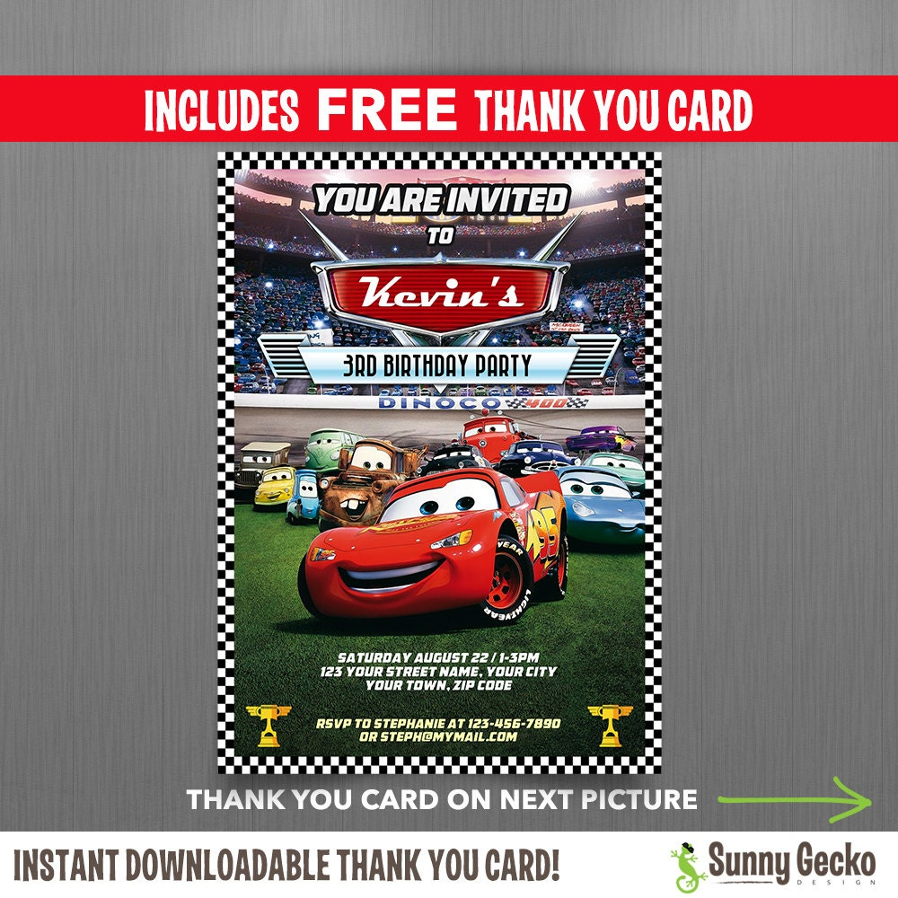 Disney cars lightning mcqueen birthday invitation with free zoom solutioingenieria Images