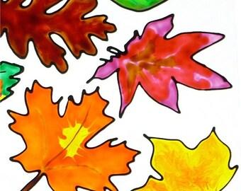 Autumn Leaves window clings sun catcher