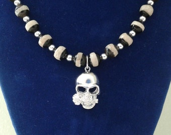 Skull Charm Necklaces, Sterlling silver 950 , beaded necklaces.