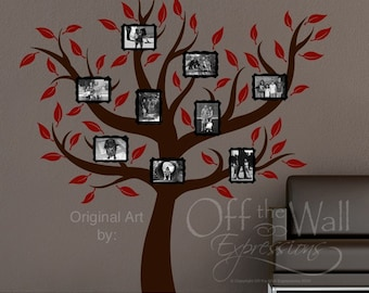 Family Tree Wall Art Decal,  photo frames vinyl decal, branches and leaves decal, family name decal