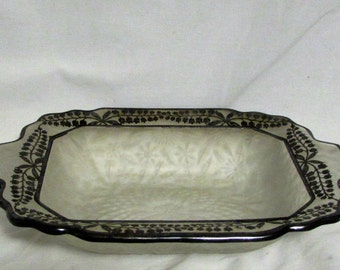Dish, Serving, Candy, Frosted Glass, Platinum Trim, 1950's - 1960's