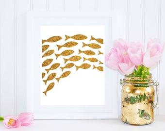 Goldfish Art, School of Fish Print, Nursery Printable, Nursery Wall Art, Gold Glitter, Printable Wall Art, Fish, Nautical Gold Decor
