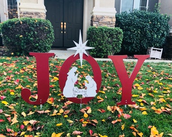 JOY Nativity Burgundy Outdoor Christmas Holiday Yard Art Sign, Christmas Decoration