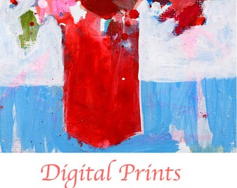 Red Abstract Flower Painting Print. Still life Print. Art Gift for Her Apartment. Digital Print. 330