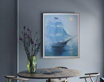 Moon traveler, original oil painting, landscape painting, landscape oil painting on canvas, nature oil landscape painting