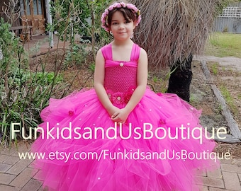 Hot Pink Princess Tutu gown with Rhinestone -Princess  Tutu Dresses -  flower girl, birthday,  can be made in different color