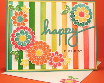 Happy Birthday Card - Handmade Stamped Birthday Card in Beautiful, Bright Colors with Floral Design and inlaid Happy die cut, cheerful,happy