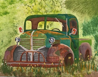 "Fiber Art Stretched on Canvas   ""Old Friend"" Vintage Ford Truck"