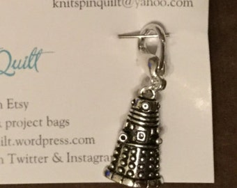 Ex-stitch-inate! Locking stitch marker for crocheting with a Dalek charm.