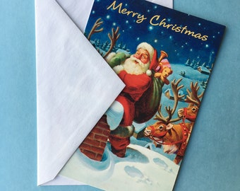 Set of 5 Merry Christmas Greeting Cards W/ Envelopes // Retro 1980's 1990's Vintage Holiday Greetings // Unsigned - Unmarked