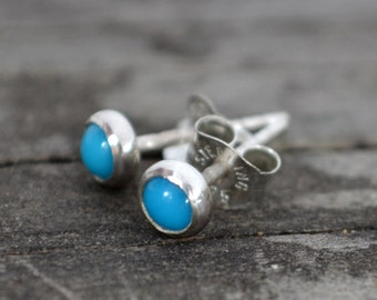 turquoise and sterling silver tiny stud earrings