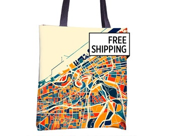 Cleveland Map Tote Bag - Ohio Map Tote Bag 15x15