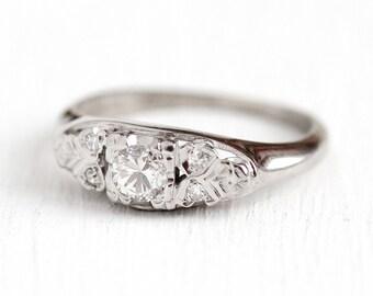 Sale - Vintage Engagement Ring - 14k & 18k White Gold 1/5 Carat Diamond - 1940s Size 4 3/4 Wedding Promise Classic 1/4 CTW Fine Jewelry