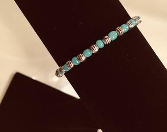 Aqua and Silver Decorative Beaded Fish Bracelet