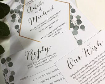 Adele geometric leaf print wedding invitation, RSVP card and wish card SAMPLE