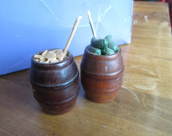 SALE Dollhouse Decor. Two Pickle Barrels. Ideal for miniature General Store. # 166