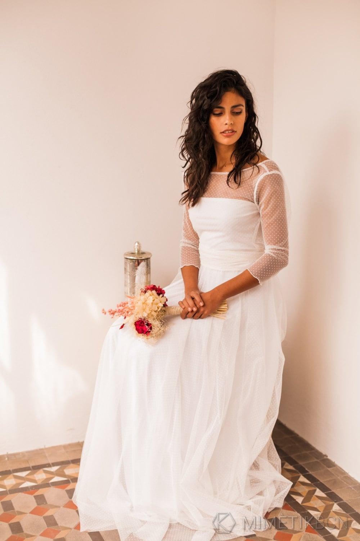 Wedding dress tulle wedding dress long sleeve wedding dress
