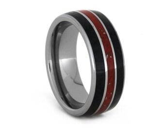 Black Jade Ring, Tungsten Carbide Wedding Band, Stardust Ring, Meteorite Jewelry