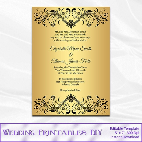 Gold Foil Wedding Invitation Template Diy Black and Gold