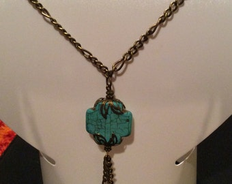 Antique Brass and Turquoise Chained Necklace