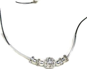 Stass black and silver necklace