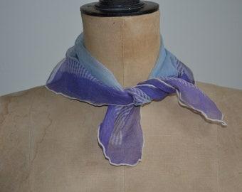 vintage scarf, silk chiffon,  sheer, 1910, edwardian, violet, hand rolled edge.