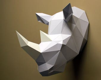 Beverly the Rhino - Papercraft, DIY Kit, 3D Papercraft, Rhino, Animal Head, Paper Trophy, Wall Decor, Low Poly, DIY Paper Sculpture