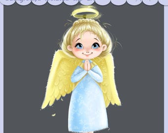 Greeting cards scrapbooking cute little girl clipart Christmas, baby Angel New Year postcard girl with wings printable digital clip art