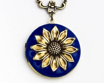 Blue Enamel Sunflower Locket Necklace, Sunflower Necklace, Sunflower Jewelry, Birthday Wedding Bridesmaid Gift