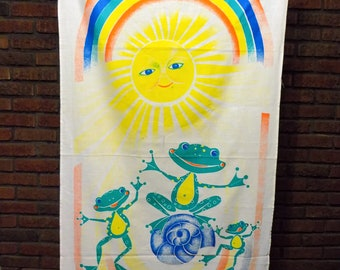 Vintage Russian Sunshine Rainbow Frogs Children's Tapestry