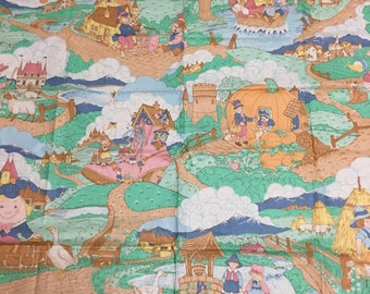 Vintage 80s Large scale Mother Goose Nursery Rhymes Fabric 1.5yds