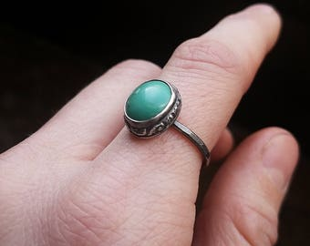 Silver turquoise ring, size 7