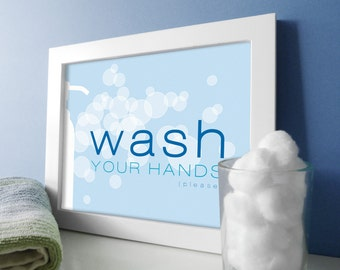 Wash Your Hands Bathroom Art - Bathroom Art - Bath Wall Art - Sky Blue Bathrom Decor - Bathroom Prints - Soap Bubbles Design - Bath Prints