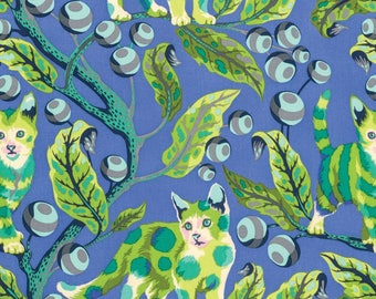 FREE SPIRIT Tabby Road PWTP092-BLUE Disco Kitty Blue Bird Kitty by Tula Pink