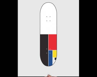 Skateboard Art Print, Skateboard Deck, Boy Room Decor, Skateboard Decor, Sports Decor, Skateboard Poster, Skateboarding, Mondrian Skateboard