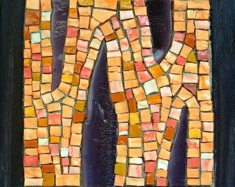 Small smalti mosaic wall art, purple and orange glass mosaic