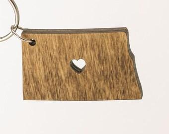 North Dakota Wooden Keychain - ND State Keychain - Wooden North Dakota Carved Key Ring - Wooden ND Charm
